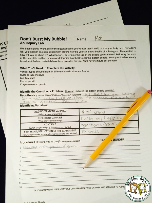 Teach variables with a bubblegum inquiry lab